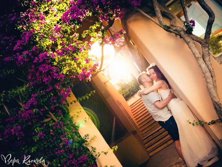 love-story на закате в Италии